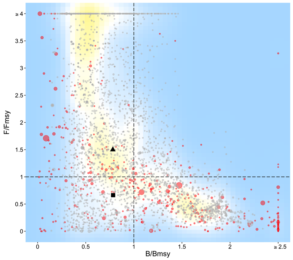 "Current fishery status (""Kobe"") plot for global fisheries. Each dot represents a fishery. The red dots represent data from RAM database, and the gray dots represent our estimates for unassessed fisheries. Dot size scales to fishery MSY. Shading is from a kernel density plot. The triangle is the median and the square is MSY-weighted geometric mean."