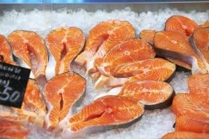 Salmon steaks on ice
