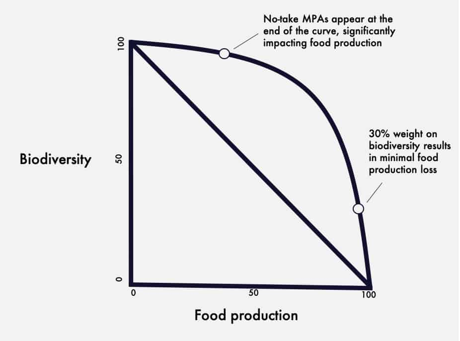 Graphical representation of biodiversity trade offs in regard to food.